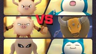 Hitmonlee  - (Pokémon) - Pokémon GO Gym Battles 2 Gyms Tauros Mankey Primeape Snorlax Hitmonlee & more