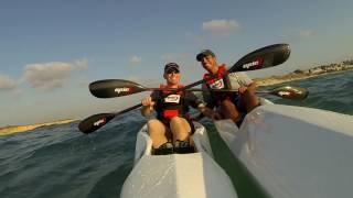 Paz and Ron paddling on epic v5 & v8 from kibotz palmahim beach