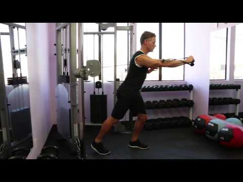 Cable One Arm Chest Press With Step Back