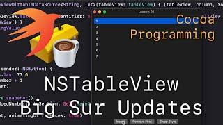 Cocoa Programming L91 - NSTableView Big Sur Updates