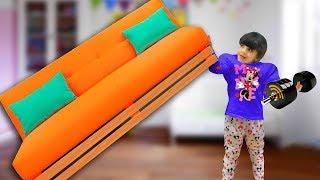 Дарина стала СУПЕР сильая - может ПОДНЯТЬ мебель! Окуда у нее СИЛА? Дар? Уборка и Видео для детей