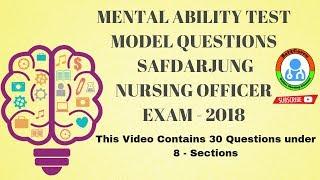 Mental Reasoning Test Questions For Safdarjung Nursing Officer Exam   2018