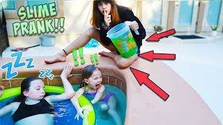 SLIME PRANK ON MY SISTERS IN THE HOT TUB!!
