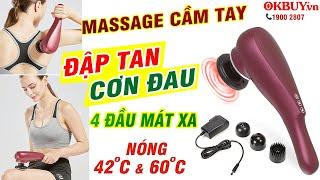 Video máy massage cầm tay toàn thân pin sạc 4 đầu PULI PL-622 - Có đầu nóng tới 60 độ