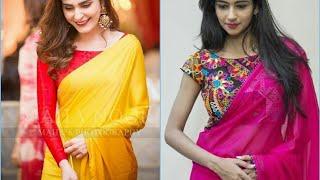 Latest Plain Sarees With Designer Blouse Ideas || Plain Sarees With Contrast Blouse 2019
