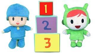 Pocoyo y Nina aprenden los numeros en español e ingles.Video educativo para niños con juguetes