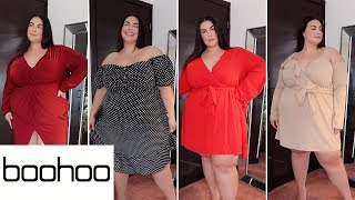 VALENTINES DAY DRESSES FROM BOOHOO | PLUS SIZE TRY ON HAUL! UK