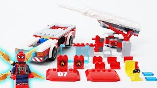 Spider-man Assembly Lego Fire Truck - Building Blocks Toys Video Cartoon for Kids