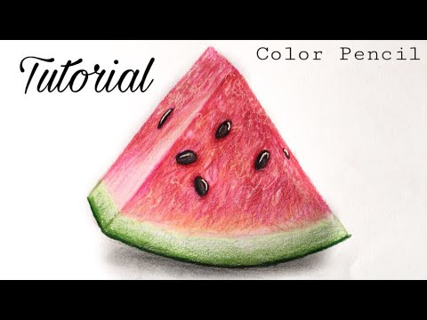 How To Draw A Watermelon   Colored Pencil Tutorial (Very Easy)