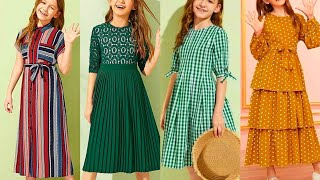 5 To 15 Years Little Girls Linen Cotton Dresses Frocks Stunning Stylish Designs