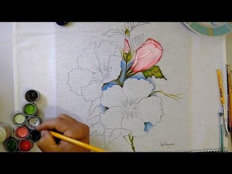 Lírios, folhas e fundo