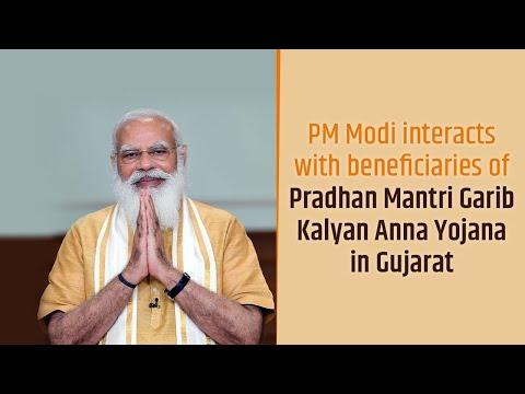 PM Narendra Modi interacts with beneficiaries of Pradhan Mantri Garib Kalyan Anna Yojana in Gujarat