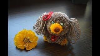 Собачка из помпонов: символ 2018 года своими руками