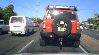 Truck crashes into a Hummer.