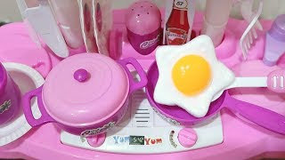 Children Cutlery Set Kitchen Cooking Egg Pretend Play Toy With Light Sound Effect