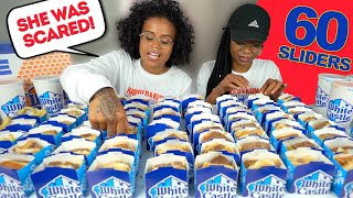 60 SLIDERS WHITE CASTLE MUKBANG CHALLENGE + SHE WAS TOO SCARED STORYTIME