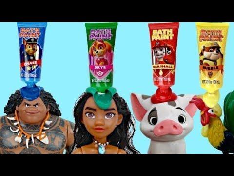 Disney MOANA Deluxe Adventure Set, Maui, Pua Pig, Hei Hei Rooster, Paw Patrol Bath Paint IRL / TUYC