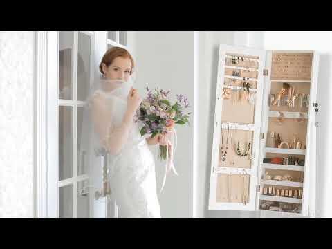 Jewelry Organizer Free Standing Led Light Bar Around Mirror Armoire With Brush Holder