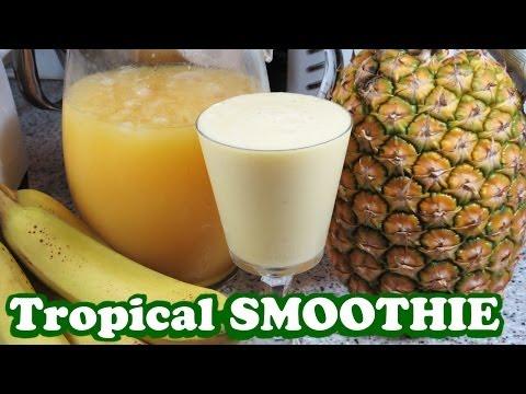 Video Tropical Fruits Smoothie Pineapple Banana Orange Juice - Healthy Juicing Diet Meal - Video Jazevox