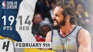 Joakim Noah Full Highlights Grizzlies Vs Pelicans 2019.02.09 - 19 Points, 14 Reb, SICK!