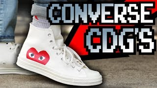 CDG PLAY X CONVERSE CHUCK TAYLOR ON FEET!!!