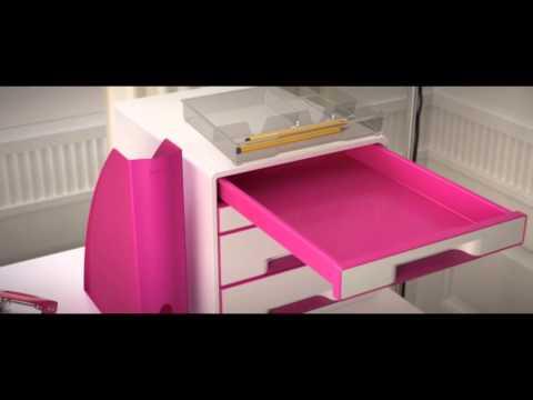 Brevordner Leitz 180° WOW A4 B:80mm u/stålskinne Pink