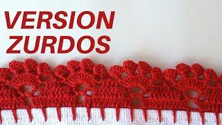 Crochet para Zurdos/ Puntilla para Servilleta paso a paso #22 Puntilla para Servilleta