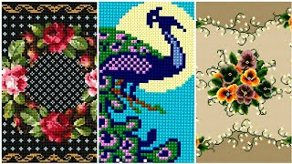 Impressive Counted Cross Stitches Design For Tables Cover