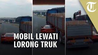 Mobil Sport Masuk Kolong Truk Bak Film Fast and Furious