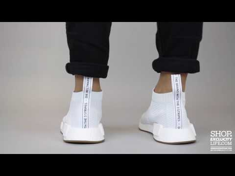outlet store 341c4 02e09 Adidas NMD City Sock 1 White Gum On Feet Video At Exclucity