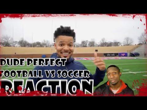 Dude Perfect Trick Shots Football vs Soccer   Reaction (видео)