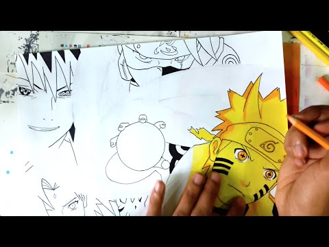 DRAWING NARUTO SIX PATH SAGE MODE & TEAM 7 (Requested)