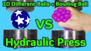 Crushing 10 Different Balls + Bowling Ball with Hydraulic Press