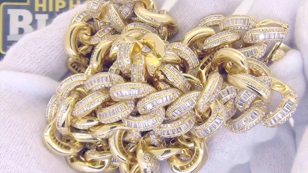Baguette Lab Diamond Cz 17mm Gold Cuban Chain Hiphopbling