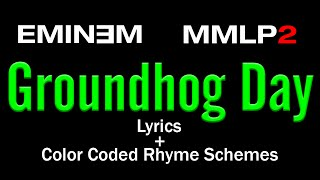 Eminem - Groundhog Day - [Lyric Video & Colored Rhyme Scheme]