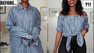 DIY Off The Shoulder Top | Mens Shirt Refashion