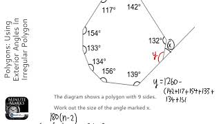Polygons: Using Exterior Angles In Irregular Polygon (Grade 3) - OnMaths GCSE Maths Revision