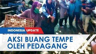 Aksi Buang Tempe Pedagang Pasar Moga, Protes karena Bansos Berupa Bahan Makanan: Harusnya Uang!