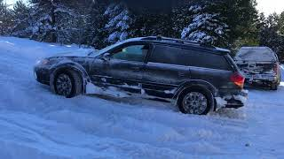 Subaru outback 3.0r vs Volvo XC70 in the snow