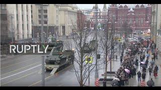 LIVE: Military vehicles parade through Tverskaya Street en route to V-Day rehearsal