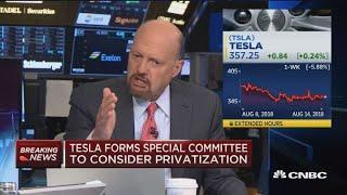 If you're shorting Tesla, you're shorting the honey badger, says Cramer