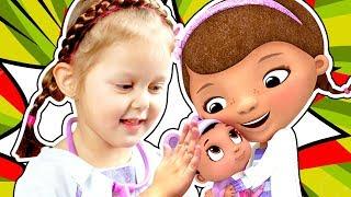 ДОКТОР ПЛЮШЕВА  Малышка Барби Заболела Едем в Клинику Doc McStuffins Toy Hospital Playset
