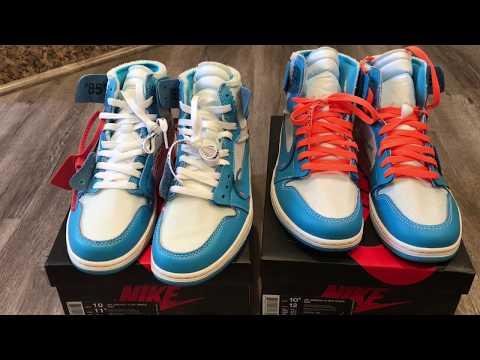 Real Vs Fake UNC Off White Nike Jordan 1 Comparison