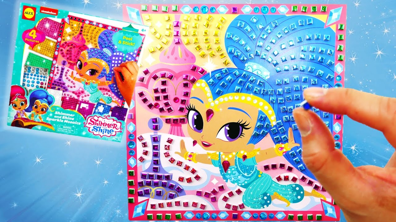 Coloring DIY Shimmer and Shine Sparkle Mosaic Tile | Evies Toy House