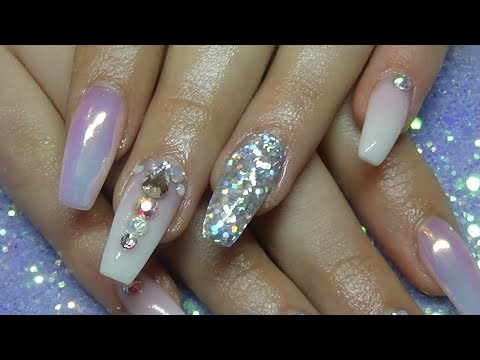 Ombre Acrylic Nails With Glitter & Unicorn Powder
