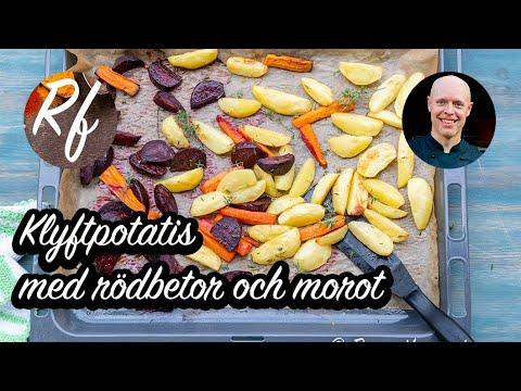 En variant på klyftpotatis med rödbetor och morot rostade i rapsolja smaksatt med lite timjan och salt. Ett gott tillbehör till det mesta där klyftpotatis passar.>