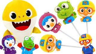 Let's eat delicious candy with Baby Shark and Pororo? Pororo Marshmallow Lollipop! | PinkyPopTOY