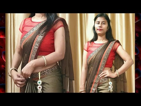 How to Cover Tummy using 1 Safety pin simple and easy trick / Chabhi Challa Saree tutorial