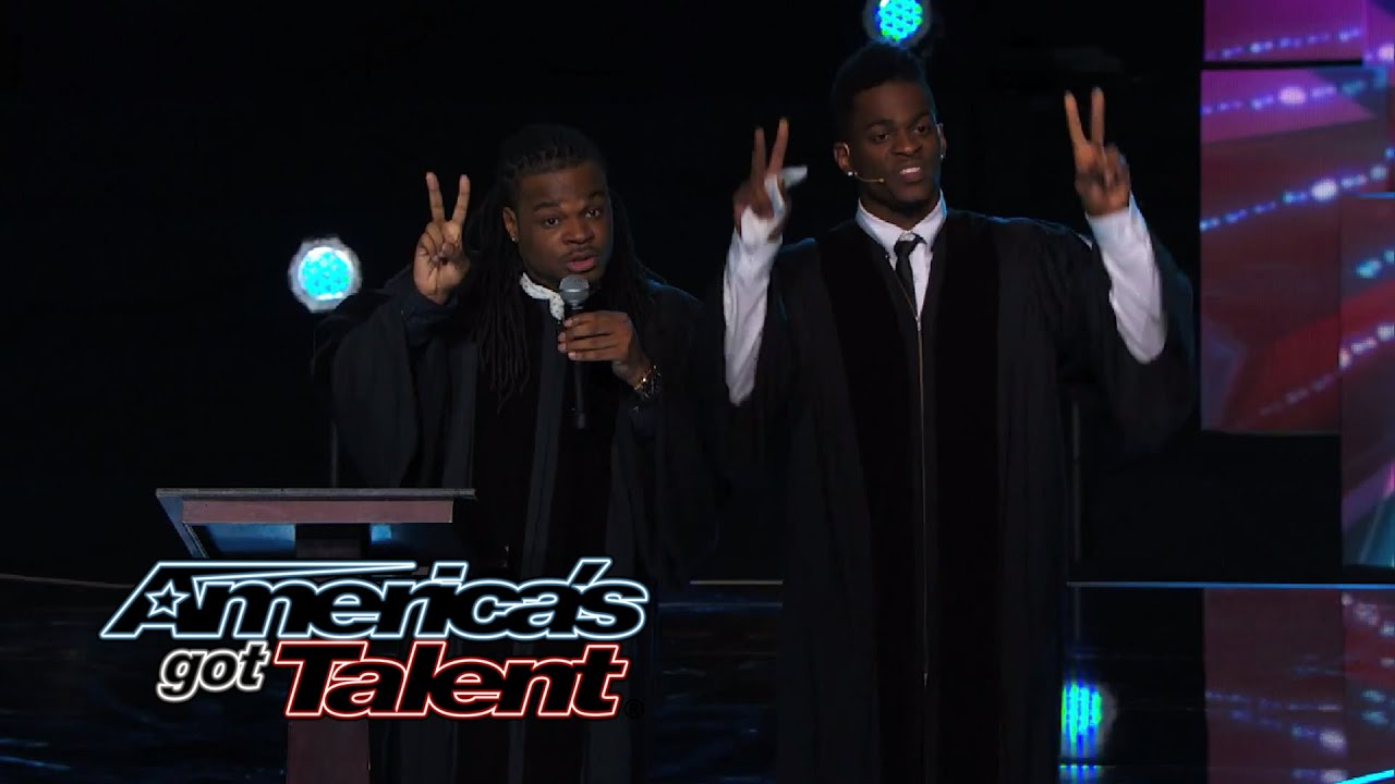 Emmanuel & Phillip Hudson: Comedic Team Takes on Religion - America's Got Talent 2014 thumbnail