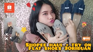 SHOPEE HAUL + TRY ON FLAT SHOES 30RIBUAN !!!